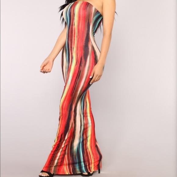 7261aa9f5c3a Fashion Nova Dresses   Skirts - Multicolored Tube Dress- Plus Size